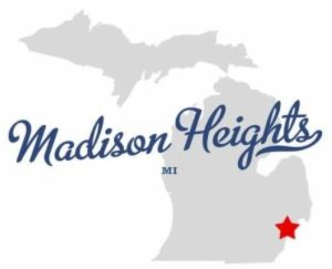 An outline of the State of Michigan with Madison Heights overlayed.
